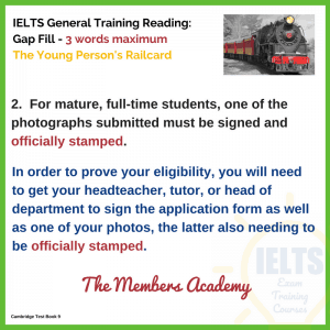 IELTS General Training Reading Young Person's Railcard