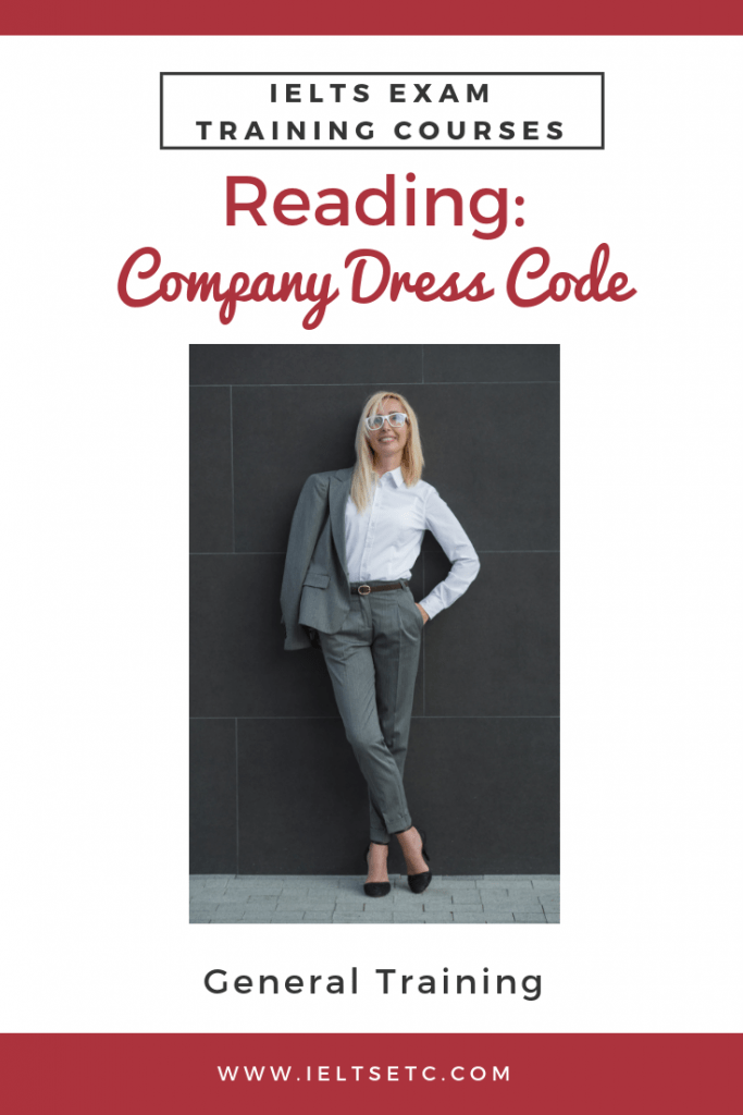 IELTS GT Reading dress codes