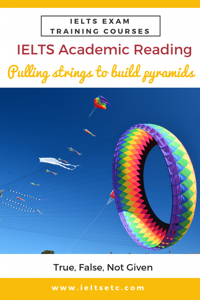IELTS Academic Reading: Pulling strings to build pyramids, True, False, Not Given and Gap fill