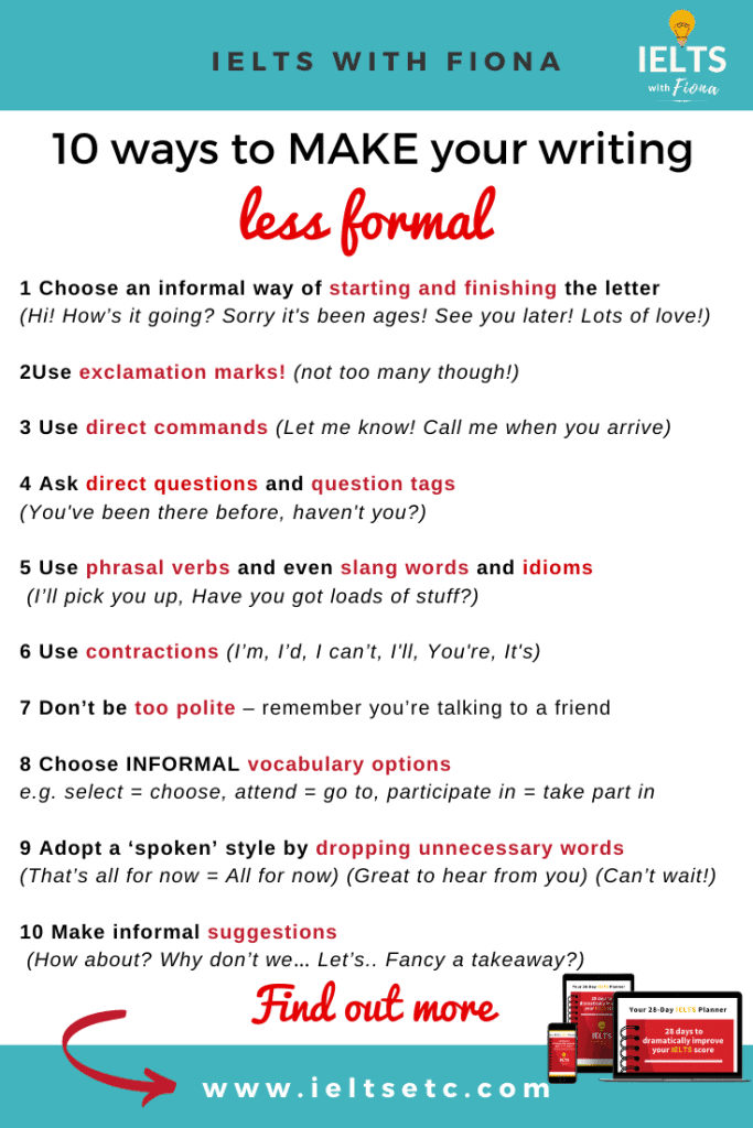 10 ways to make your IELTS GT writing less formal