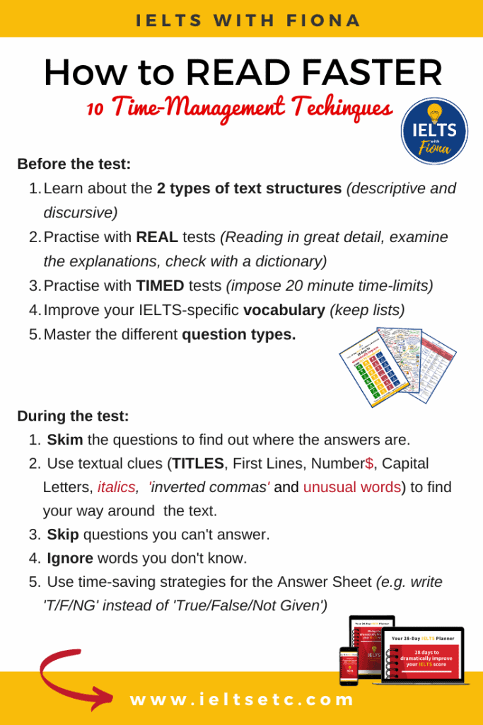 10 ways to read faster in the IELTS test