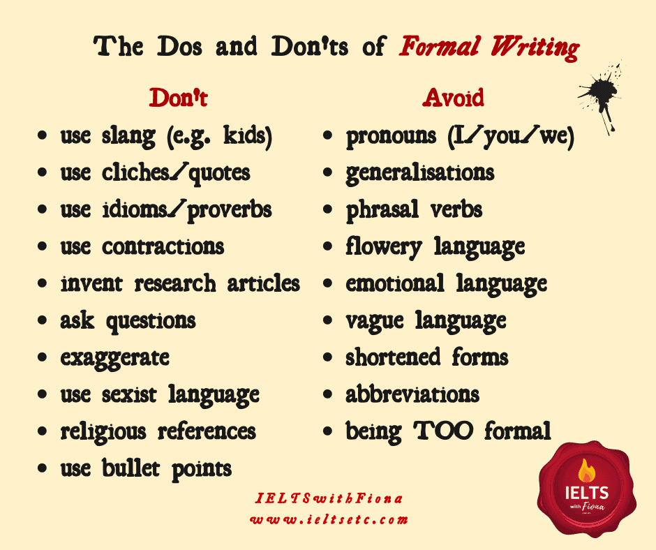 IELTS formal writing academic tone for Task 2